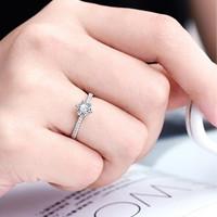 Cincin Berlian Lapis Emas Putih Imitasi Zircon Adjustable Size F9205