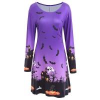 Pumpkin Bat Print Long Sleeve Halloween Swing Dress