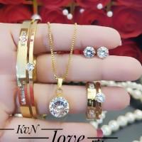 titanium set perhiasan lapis emas 24k 0715