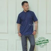 Baju Kemeja Muslim Pria Koko Bordir Casual Premium Hamid Dark Blue