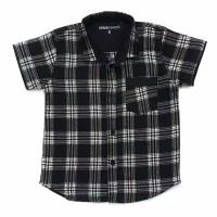 MAXKENZO hem kemeja baju flanel kotak kecil anak bayi 1-10 tahun hitam