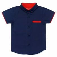 Hem kemeja baju katun anak bayi 1-10 tahun biru dongker polos