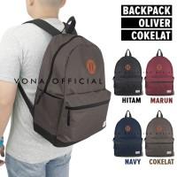Tas Punggung Pria Wanita Backpack Daypack Laptop Semi Kanvas OLIVER