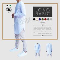 Gamis Kaos Kurta Putih Baju Koko Tangan Panjang