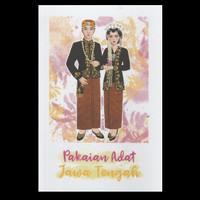 Postcard Pakaian Adat Jawa Tengah kartupos snailmail kebaya ilustrasi