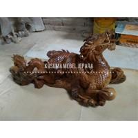 Patung Naga Kayu Jati Dekorasi Meja (Panjang 90cm)