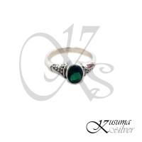 Cincin Ring Perak Silver Bali Midi Batu Hijau Tua Ukir Jagung Asli 925