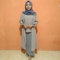 Baju Gamis Wanita Terbaru Atasan Muslim Blouse Putih