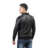 Jaket Semi Kulit Pria Outwear Casual Motor Cowok Hitam Style Distro