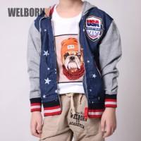 Welborn Kids Jaket Hoodie Biru Bintang Basketball Anak Laki - 10