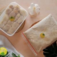 durian kupas + daging durian