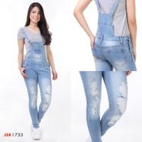 Overall Ripped Skinny Jeans Wanita / Celana Kodok Wanita / Baju Monyet