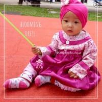 Blooming Dress - Dress Balita Muslimah Kekinian dengan Turban 6bln-1th