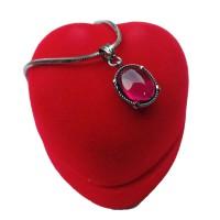 Kalung liontin pria wanita batu akik merah siam diamond polos
