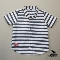 kemeja baju anak bayi motif garis stripes 0-5 th hitam putih distro