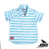 Kemeja Hem Baju Anak Bayi 0-5 th biru blue motif stripes garis distro