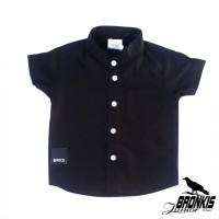 Kemeja Hem Baju Anak Bayi 0-5 tahun hitam polos distro