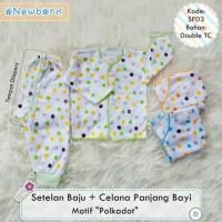 3 Setelan Baju Lengan Panjang + Celana Panjang Bayi motif Polkadot