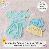 3 Stel Setelan Baju Bayi Lengan Pendek dan Celana Pop Bayi Polos Warna