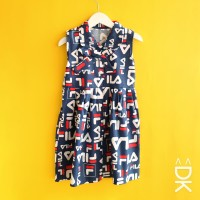 Dress Anak Perempuan Katun Catra Kidvia Motif Fila Navy Murah & Lucu