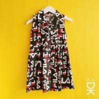 Dress Anak Perempuan Katun Catra Kidvia Motif Fila Hitam Murah & Lucu
