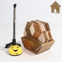 Coaster, Tatakan kayu 3D hexagonal set - D9