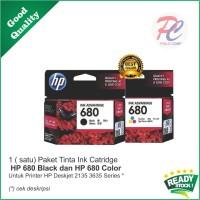 Paket Tinta Ink Catridge HP 680 Black Dan Color Printer HP Deskjet 213
