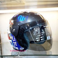 Helm Motor Model Gm Evo Termurah - Gambar Hello Kitty Abu Abu