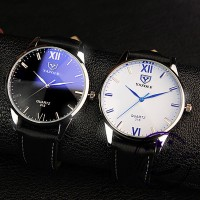 Jam Tangan Pria YAZOLE 318 Men Watch Roman Number Quartz Wrist Watch
