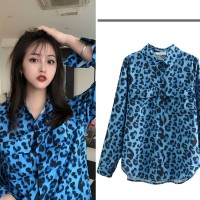 Baju Atasan Blouse Korea Blue leopard (L) Import Original