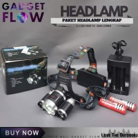 Senter Kepala HeadLamp Lampu LED T6 CREE ( PAKET LENGKAP )