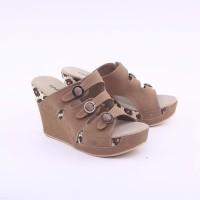 sandal wedges cewek motif batik brown grd 4312