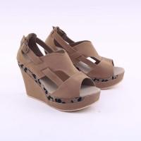 grosir sepatu wedges cantik motif batik brown grd 4313