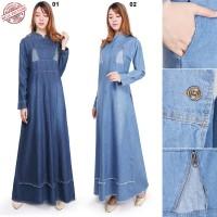 Dress Maxi Aletha Gamis Panjang Long Dress Jeans Wanita All Size