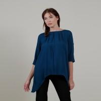 Mississippi - Asymmetric blouse with opnaisel detail A7796M teal blue - Biru, S
