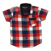 hem kemeja baju flanel lengan pendek anak bayi merah kotak