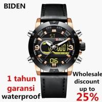 jam tangan Biden Pria wanita fashion leather band sport jam Emas