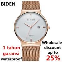 jam tangan Biden pria wanita fashion simple mesh band sport waterpoof