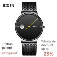jam tangan Biden pria wanita simple bisnis sport mesh fashion Hitam