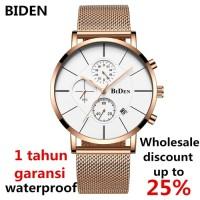 jam tangan Biden pria wanita mesh band bisnis sport waterproof jam E