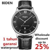 jam tangan Biden Pria wanita fashion leather band sport quartz Hitam