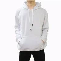 sweater hoodie polos puith / jaket polos putih jumbo