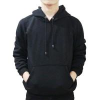 jaket hoodie hitam polos unisex / sweater hoodie jumbo hitam polos