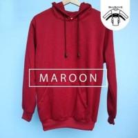 jaket polos maroon unisex / sweater hoodie polos marun jumbo
