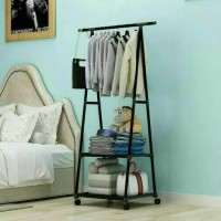 Baru Triangle Standing Hanger Rak Buku Gantungan Pakaian Serbaguna