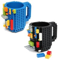 Gelas Mug Lego Kubik Build-on Brick Unik 936SN Red Black - Hitam