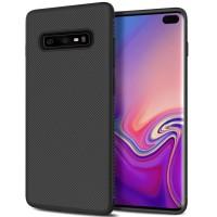 Casing Silicone Fiber Shockproof Case Samsung Galaxy S10+ / S10 Plus - Hitam