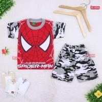 Setelan Pendek SuperHero Uk 5-6 Tahun / Kaos Anak Laki Celana Pendek