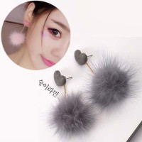 Anting Korea PomPom Heart Earrings REA432