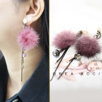 Anting Korea Fur PomPom Handmade Mink Droplets Crystal Earrings JUN203